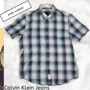 Calvin Klein Jeans Mens Button Down Shirt Size L